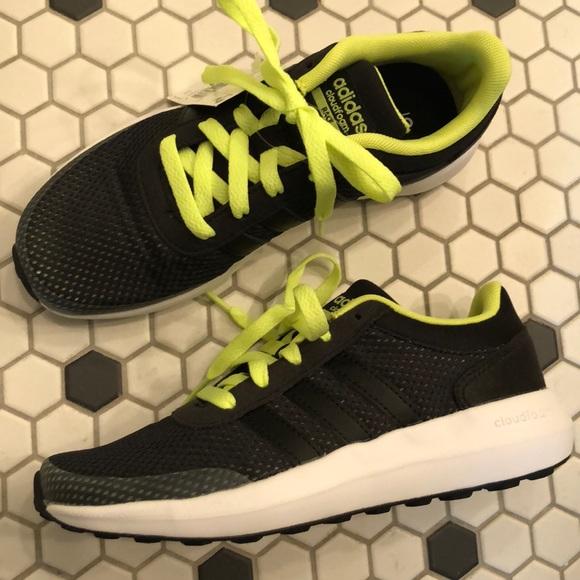 NEW ADIDAS Shoes Cloudfoam Race Black Neon 2 boy's